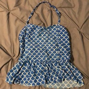 "Other - old navy tankini top. blue with ""mermaid"" scales"